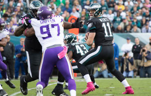 Eagles quarterback Carson Wentz (11) drops back to pass against the Minnesota Vikings during the first quarter at Lincoln Financial Field.