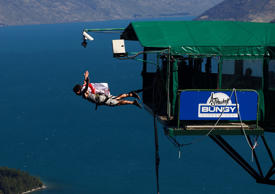 AJ Hackett Bungy jumping from Ledge Bungy at the top of the Skyline. Queenstown, South Island,New Zealand