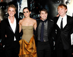 Cast members, from left, Tom Felton, Emma Watson, Daniel Radcliffe and Rupert Grint