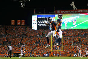Wide receiver Demaryius Thomas #88 of the Denver Broncos celebrate a touchdown w...