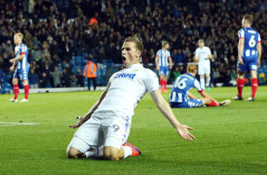 Chris Wood celebrates after scoring against Wigan Athletic.