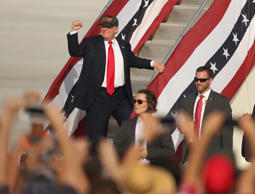 Republican presidential candidate Donald Trump gestures following at a campaign ...