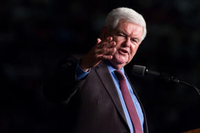 Former Speaker of the House Newt Gingrich introduces Republican presidential can...