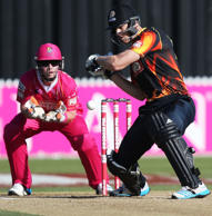 Michael Pollard of the Wellington Firebirds bats during the Domestic Twenty20 match between the Northern Districts Knights and the Wellington Firebirds