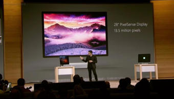 Video still of Panos Panay, Corporate Vice President for Surface Computing, demonstrating the Surface Studio computer at a live Microsoft event in New York on Wednesday.