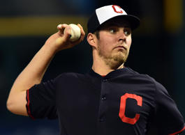 Indians starting pitcher Trevor Bauer throws a pitch during a workout before the start of the World Series at Progressive Field in Cleveland on Oct. 24, 2016.