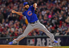 Chicago Cubs starting pitcher Jake Arrieta throws a pitch against the Cleveland Indians in the first inning in game two of the 2016 World Series at Progressive Field.