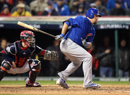 Chicago's Kyle Schwarber hits a RBI single against the Cleveland Indians in the fifth inning of Game 2 of the World Series against the Cleveland Indians at Progressive Field on Oct. 26, 2016