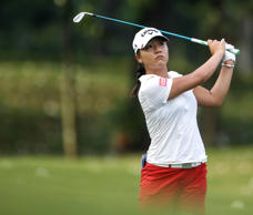 Lydia Ko follows her shot on the tenth hole during the second round of the LPGA ...