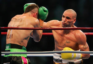 Anthony Mundine lands a right hand on Danny Green.