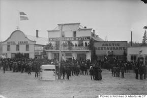 At right, the Arctic Restaurant and Hotel in Whitehorse, Yukon, in 1899, which was co-owned by Friedrich Trump, Donald's grandfather.