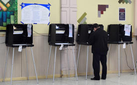 Vcast ballots in the presidential election at a polling center in Miami, Florida on November 8, 2016.