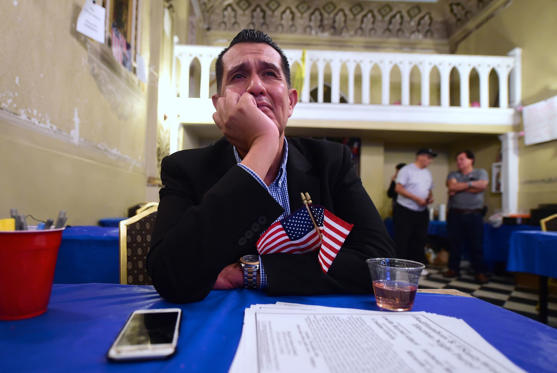 An emotional Gerardo Ruiz watches the Election results from the headquarters of US Democratic presidential Hillary Clinton in East Los Angeles on November 8, 2016. / AFP / Frederic J. BROWN (Photo credit should read FREDERIC J. BROWN/AFP/Getty Images)