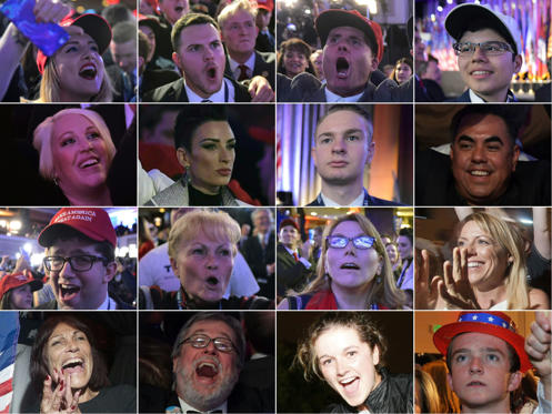 (COMBO) This combination of pictures created on November 09, 2016 shows supporters of Republican presidential nominee Donald Trump reacting to early results during election night in New York on November 8, 2016.  Trump stunned America and the world on No