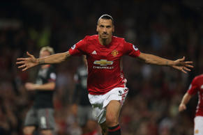 MANCHESTER, ENGLAND - AUGUST 19: Zlatan Ibrahimovic of Manchester United celebrates after scoring a goal to make it 2-0 during the Premier League match between Manchester United and Southampton at Old Trafford on August 19, 2016 in Manchester, England. (Photo by Matthew Ashton - AMA/Getty Images)