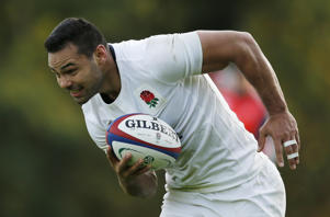Ben Te'o trains with the England rugby team.