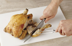 All white-fleshed poultry, including turkey and chicken, can be carved using thi...