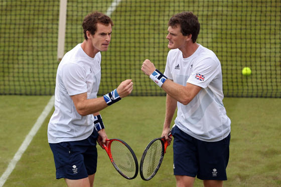 Slide 1 of 58: LONDON, ENGLAND - JULY 28:  Andy Murray and Jamie Murray of Great Britain play against Alexander Peya and Jurgen Melzer of Austria during their Men's Doubles Tennis match on Day 1 of the London 2012 Olympic Games at the All England Lawn Tennis and Croque