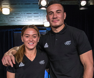 AUCKLAND, NEW ZEALAND - JULY 03: (L-R) Niall Williams and Sonny Bill Williams during the New Zealand Olympic Games Rugby Sevens Team Announcement at Eden Park on July 3, 2016 in Auckland, New Zealand. (Photo by Dave Rowland/Getty Images)