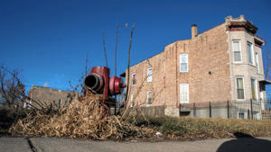 A vacant lot next to a house in Chicago's Englewood neighborhood is seen Dec. 31, 2014. The lot was sold by the city for $1 as part of the Large Lots Program.