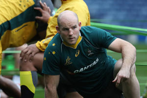 Stephen Moore of Australia takes part in the captains run at Murrayfield Stadium on November 11, 2016 in Edinburgh, Scotland.