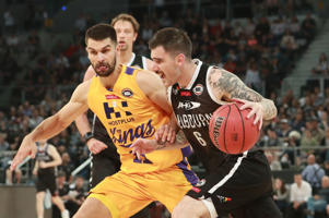 Nate Tomlinson of Melbourne United drives to the basket during the round six NBL match between Melbourne United and the Sydney Kings at Hisense Arena on November 12, 2016 in Melbourne, Australia.