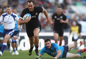 Israel Dagg of the New Zealand All Blacks scores a try during the international rugby match between New Zealand and Italy at Stadio Olimpico on November 12, 2016 in Rome, Italy.