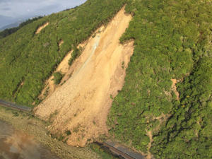 A photo shared on social media by Marlborough District Council shows a large slip on State Highway One near Kaikoura.