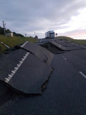 A photo on Twitter shows damage to State Highway One near Kaikoura.