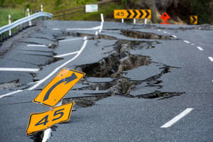 Earthquake damage to State Highway 1 is seen south of Kaikoura.
