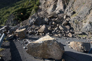 A landslide triggered by the November 14 earthquake covers State Highway 1 south of Kaikoura.