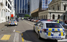 Police outside Wellington District Court after it was evacuated on the morning of November 18.