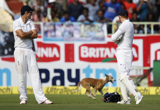 Slide 1 of 54: England's captain Alastair Cook, left, and team mate Jonny Bairstow watch a dog running into the field on the first day of their second cricket test match against India in Visakhapatnam, India, Thursday, Nov. 17, 2016. (AP Photo/Aijaz Rahi)