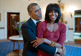 "Jan. 17, 2013: ""The President sings 'Happy Birthday' to the First Lady after gre..."