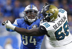Nov 20, 2016; Detroit, MI, USA; Detroit Lions defensive end Ezekiel Ansah (94) r...
