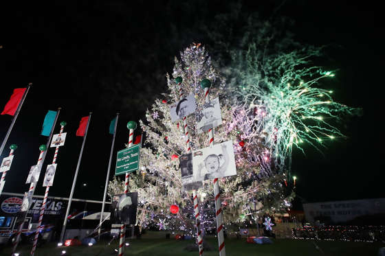 Fireworks are displayed during the 2016 Speedway Children's Charities Annual Tree Lighting and Grant Ceremony at Texas Motor Speedway on November 29, 2016 in Fort Worth, Texas