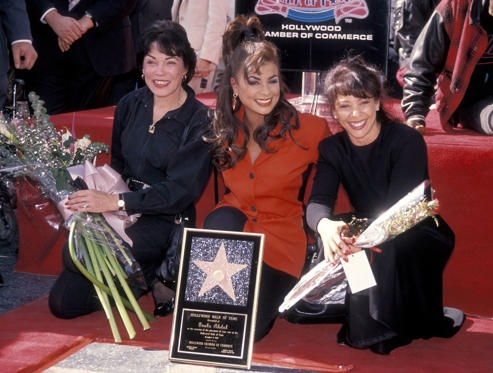 HOLLYWOOD - DECEMBER 4: Singer Paula Abdul, mother Lorraine Rykiss and sister Wendy Mandel attend the Hollywood Walk of Fame Star Ceremony for Paula Abdul on December 4, 1991 at 7021 Hollywood Boulevard in Hollywood, California. (Photo by )