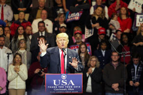 U.S. President-elect Donald Trump speaks at a rally in Cincinnati, Ohio, Decembe...
