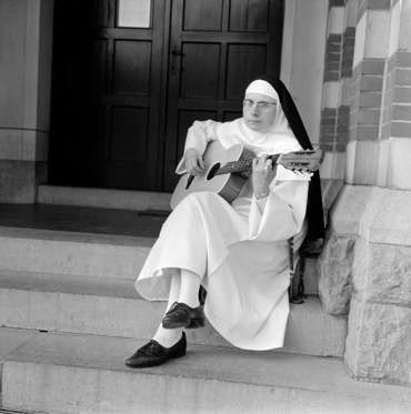 Pictured on steps of convent December 1963 A.k.a. Sister Luc Dominique Sister Sourine Jeanine Deckers Soeur Sourire Sister Smile