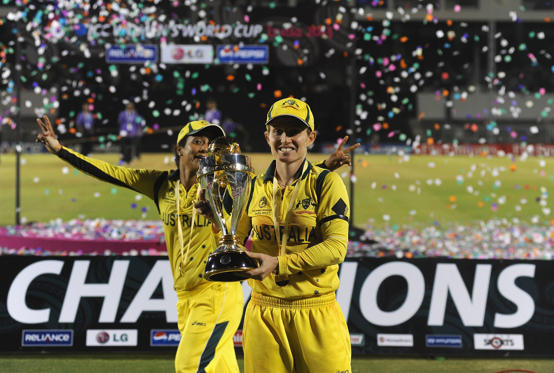 MUMBAI, INDIA - FEBRUARY 17:  Jodie Fields, captain of Australia, poses with the Womens World Cup trophy, as Austarlia wins the ICC Womens World Cup 2013 between Australia and West Indies held at the CCI (Cricket Club of India) stadium on February 17, 20