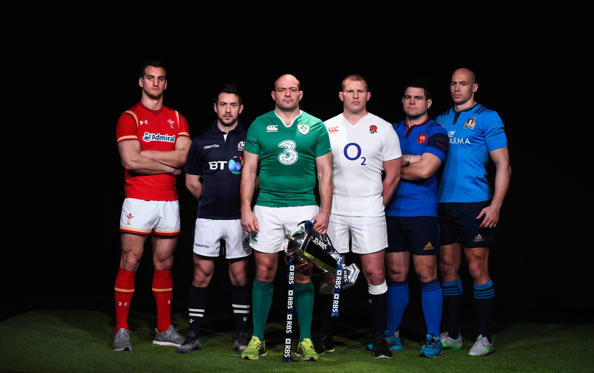 LONDON, ENGLAND - JANUARY 27:  (L-R) Sam Warburton, captain of Wales, Greig Laidlaw, captain of Scotland, Rory Best, captain of Ireland, Dylan Hartley, captain of England, Guilhem Guirado, captain of France and Sergio Parisse, captain of Italy pose durin