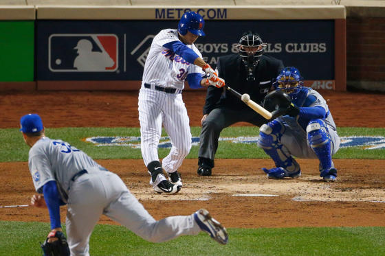 NEW YORK, NY - OCTOBER 31:  Michael Conforto #30 of the New York Mets hits a solo home run in the third inning against Chris Young #32 of the Kansas City Royals during Game Four of the 2015 World Series at Citi Field on October 31, 2015 in the Flushing n