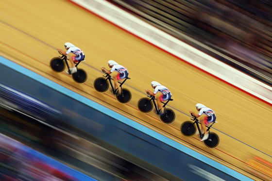 LONDON, ENGLAND - MARCH 02:  Great Britain ride in qualifying for the Men's Team Pursuit at the Lee Valley Velopark Velodrome on March 2, 2016 in London, England.  (Photo by Bryn Lennon/Getty Images)
