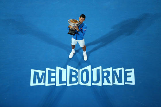 MELBOURNE, AUSTRALIA - FEBRUARY 01:  Novak Djokovic of Serbia holds the Norman Brookes Challenge Cup after winning his men's final match against Andy Murray of Great Britain during day 14 of the 2015 Australian Open at Melbourne Park on February 1, 2015