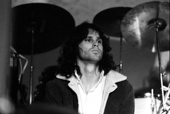 American singer-songwriter and poet Jim Morrison (1943-1971), lead singer of The Doors, at the Winterland in San Francisco, December 1967.