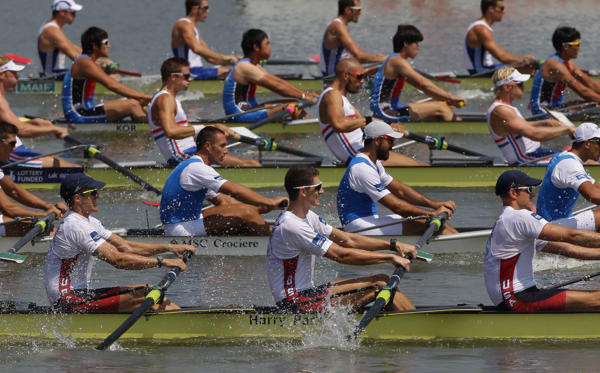 CHUNGJU, SOUTH KOREA - AUGUST 26:  (top to bottom) France, South Korea, Great Bretain, Italy and United States compete in the Men's Eight during day two of the 2013 World Rowing Championships on August 26, 2013 in Chungju, South Korea.  (Photo by Chung S