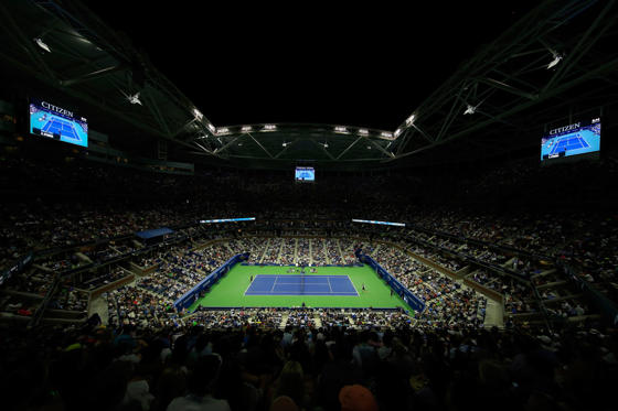 NEW YORK, NY - SEPTEMBER 01:  Andy Murray of Great Britain serves against Nick Kyrgios of Australia during their Men's Singles First Round match in Arthur Ashe Stadium on day two of the 2015 U.S. Open at the USTA Billie Jean King National Tennis Center o