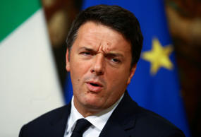 Italian Prime Minister Matteo Renzi leads a news conference in Rome, Italy, November 18, 2016.