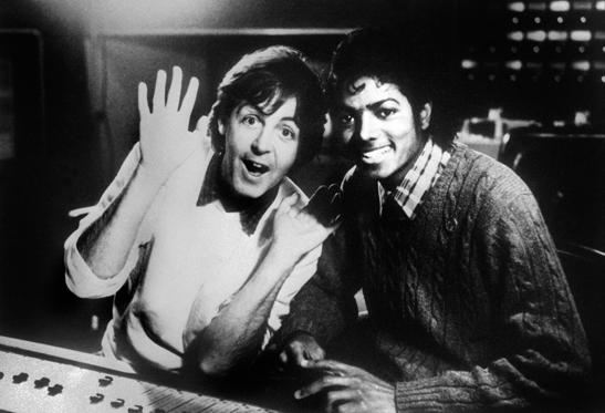 "Photo dated on December 19, 1983 shows British singer Paul McCartney and US pop star Michael Jackson (R). Michael Jackson died on June 25, 2009 after suffering a cardiac arrest, sending shockwaves sweeping across the world and tributes pouring for the tortured music icon revered as the ""King of Pop."""