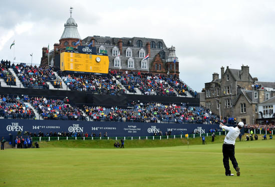 ST ANDREWS, SCOTLAND - JULY 20:  Zach Johnson of the United States plays his approach shot to the 18th green in the playoff during the final round of the 144th Open Championship at The Old Course on July 20, 2015 in St Andrews, Scotland.  (Photo by Stuar